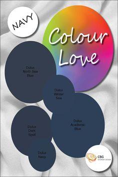 Colour Love. Dulux. Navy Blue Paint Colors For Home, Paint Colours, Blue Feature Wall, Beach House Colors, Joy And Happiness, Blue Walls, Painting Techniques, Navy Blue, Palette