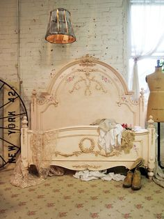 Painted Cottage Chic Shabby Pink Romantic Bed by paintedcottages, $1095.00