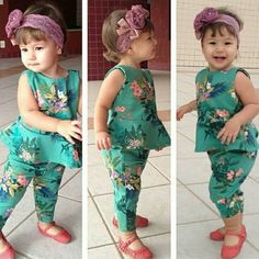 Polyester, Cotton Sleeveless Machine washable Fits true to size Two piece set includes: 1 x top, 1 x bottom Peplum design Toddler Dress, Toddler Girl, Baby Girls, Baby Outfits, Kids Outfits, Baby Girl Fashion, Kids Fashion, Baby Dress Patterns, Fashion Mode