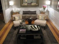 Old Hollywood-inspired living room - JAX Decor & Design Old Hollywood Decor, Old Hollywood Style, Hollywood Regency, Hollywood Glamour, Eclectic Living Room, Living Room Decor, Basement Family Rooms, Mirrored End Table, French Decor
