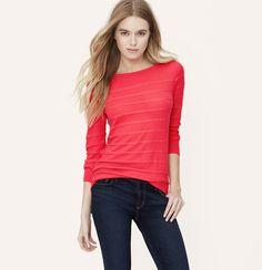 Textural Stripe Sweater | Loft S coral, black, aqua $49.50