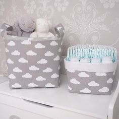 Our beautiful Grey Clouds collection is one of our best sellers. All handmade to order it's a perfect unisex choice and mixes perfectly with our Dotty and Chevrons ranges too. Basket Options:Standard with handles (25x25x25cm approx)Medium with handles (30x30x30cm approx)Pair with handles (20x20x20cm