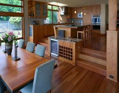 Kitchen with step down dining