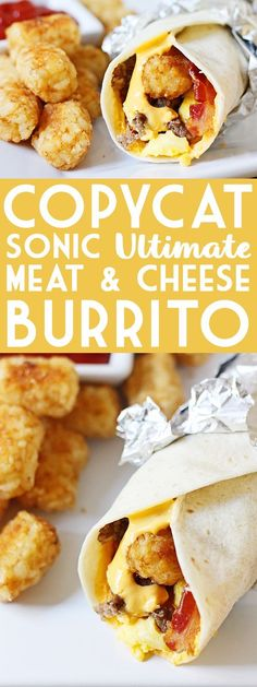 Sonic Ultimate Meat & Cheese Burritos Copycat Sonic Ultimate Meat & Cheese Burrito -- This copycat Sonic Ultimate Meat & Cheese Burrito recipe comes as close to the drive-thru original as possible. Don't forget to throw in an extra side of tots! Breakfast Sauce Recipe, Breakfast Recipes, Breakfast Ideas, How To Make Cheese Sauce, Meat And Cheese, Sauce Recipes, Cooking Recipes, Cat Recipes, Recipies