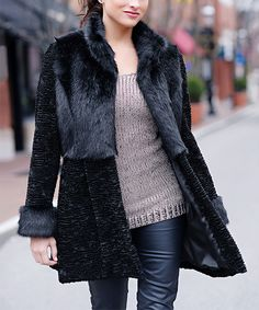 Look at this #zulilyfind! Black Embossed Faux Fur Coat - Plus Too by Donna Salyers' Fabulous-Furs #zulilyfinds