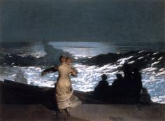 Winslow Homer (American 1836–1910) [Realism, Landscape, Marine] A Summer Night, 1890.