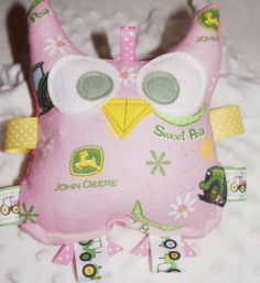 Toy Owl Baby toy crinkle owl 7 inches Pink by Sassydoodlebaby, $10.00