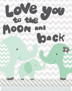 Nursery Art, moon and back art print, elephant art, Nursery art print, grey chevron print, Friendship Falls art print by Jennifer McCully