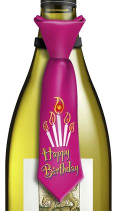 Birthday Candle Pink Tie Bottle Topper has blinking lights T-12-203