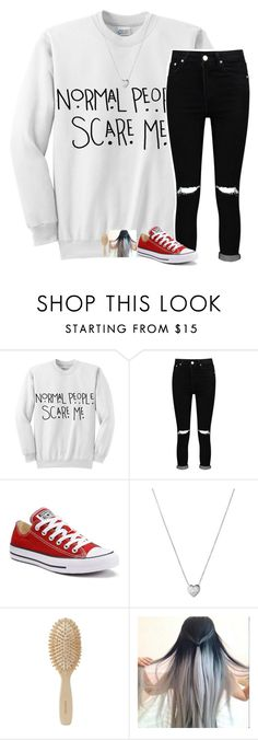"""-- normal people scare me"" by jxst-like-galaxy ❤ liked on Polyvore featuring Boohoo, Converse, Links of London and Meraki"