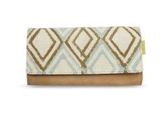 Crafted in block-printed vegan leather and cotton, this rectangular wallet has a zip coin pocket, plastic I.D. holder, several card slots and a magnetic button closure.
