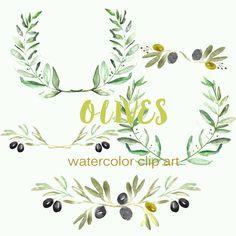 Olives watercolor Clipart peinte à la main. Aquarelle. Couleurs romantiques, vert, olivier, couronne, logos, laurier, arrangements by LABFcreations on Etsy