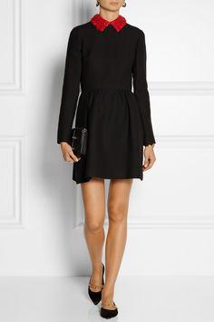 Valentino | Wool and silk-blend mini dress | NET-A-PORTER.COM