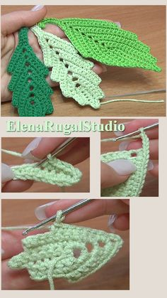 In this tutorial you will learn how to crochet a classic leaf with little chain spaces inside. This crochet leaf looks good by itself and can be a perfect ad. Crochet Sunflower, Crochet Leaves, Thread Crochet, Crochet Crafts, Crochet Dolls, Crochet Flowers, Crochet Leaf Patterns, Crochet Bedspread Pattern, Crochet Earrings Pattern