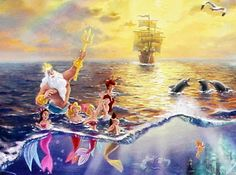 Thomas Kinkade Disney The Little Mermaid Thomas Kinkade Art, Thomas Kinkade Disney, Disney And Dreamworks, Disney Pixar, Walt Disney, Hans Christian, Disney Love, Disney Magic, Kinkade Paintings