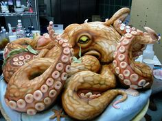 Giant octopus cake. Pretty impressive, though not the most appetizing.