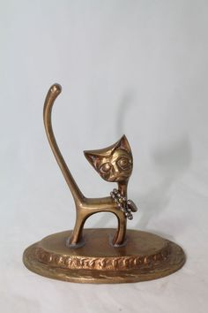 "Solid Brass Cute Cat Figurine on Pedestal 3.5""x3.75""""  http://stores.ebay.com/Pontiac-Pickings"