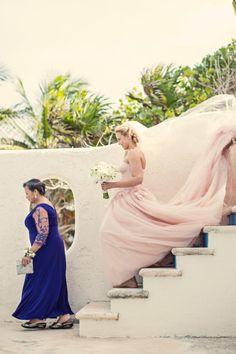 Wedding Photography || A Gorgeous Walk Down the Aisle Shot || Pink Wedding Dress