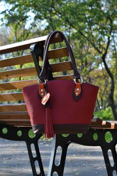 LEATHER bag,TOTE , Calf shoulder bag, Unique red leather bag,Leather Bag with Leather Tassel
