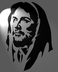 icu ~ Pin on ideas ~ Jesus Christ stencil mylar cut in format by Jesus Drawings, Art Drawings, Jesus Christ Drawing, Jesus Painting, Painting Art, Jesus Face, Stencil Art, Cake Stencil, Stencil Graffiti