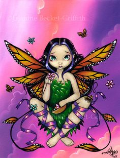 Jasmine Becket Griffith Art Print Signed Fairy at Sunset Butterfly Flower Clouds | eBay