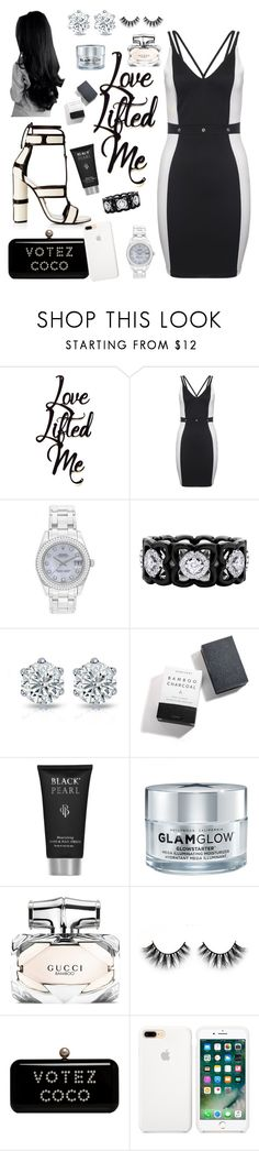 """White&&Black🏁"" by tropical-vegas-finest ❤ liked on Polyvore featuring Tom Ford, Rolex, De Beers, Herbivore, GlamGlow and Gucci"