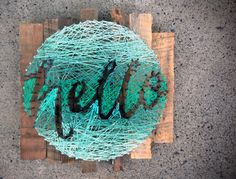 hello String Art Typography in a Circle Hand by kimberlygeer