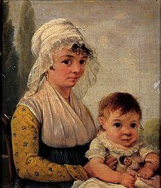 Jean-François Sablet, Portrait de Fernande Crucy âgée de deux ans et de sa bonne Marguerite Balley, âgée de 26 ans, 1806