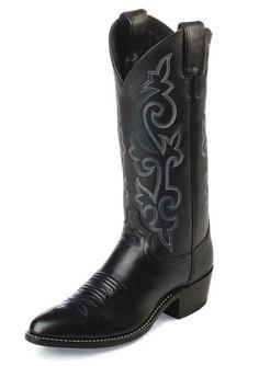 Justin Mens Pilot Western Uniform Boots Black