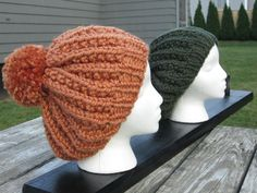 Ribbed  PomPom Winter Hat by WendysWonders127 on Etsy, $35.00