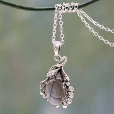India Sterling Silver Artisan Necklace with Labradorite - Quiet Allure | NOVICA Gemstone Earrings, Dangle Earrings, Pendant Necklace, Crown Earrings, Jewelry Packaging, Jewelry Gifts, Jewellery, Sterling Silver Chains, Labradorite