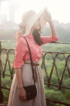 Coral skirt, polkadot skirt, sun hat