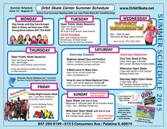 Orbit Skate Center Summer Skate Schedule 2015