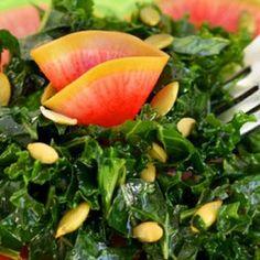 Salad#Good Foods# Kale Salad with Quick-Pickled Watermelon Radish