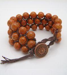 Macrame and bead bracelet