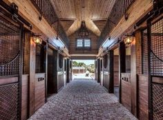 brick barn aisle and high ceilings