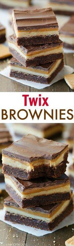 twix brownies, dessert, chocolate, caramel is part of Desserts - Brownie Recipes, Cookie Recipes, Dessert Recipes, Brownie Desserts, Bar Recipes, Dessert Bars, Yummy Treats, Sweet Treats, Yummy Food
