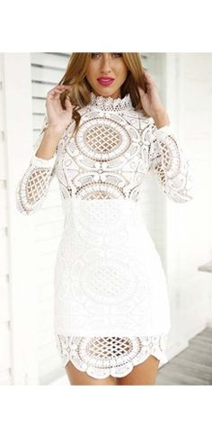 White Sheer Lace Long Sleeve Mock Neck Scallop Bodycon Mini Dress