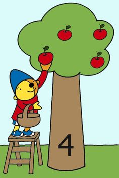 Flip chart idea: have tree with number and basket of apples. Kids slide apples onto the tree (one-to-one correspondence, counting, sequencing) Preschool Math Games, Preschool Printables, Math Activities, Phonics Song, Alphabet Phonics, Kids Learning Alphabet, Kids Slide, Kindergarten, Grande Section