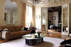 I can't do a lot of this room but I can a smaller mirror, Best French Country Living Room Wall Colors: Warmth Of French ...