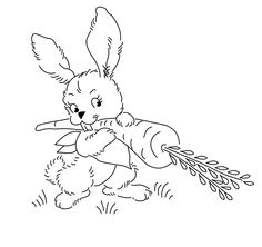 A cute bunny with a carrot. i think this and the baby bird were intended for Easter decorations.