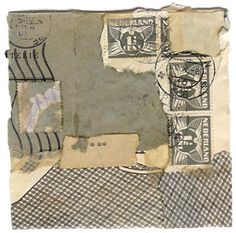 """#Crystal Neubauer, Utterings: A Wordless Prayer Series 2011 Collage 11"""" x 14""""  Sold; Collage created from authentic ephemera, packaging materials, book spine, etc.;  4"""" x 4"""" is mounted and displayed in 11"""" x 14"""" mat and frame, ready to hang"""