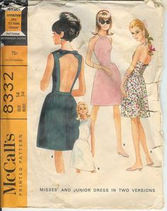 Rare McCall's 8332 Vintage 60s Cut Out Peekaboo by AbbyandSophia. I have this pattern and I made it up in Polyester Double Knit.