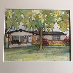 House painting in watercolor with ink details, custom portrait of your home family home drawing Commissioned house art - Photo to art Photo To Watercolor, Watercolor And Ink, House Sketch, House Drawing, House Painting, That Way, Custom Homes, Original Artwork, House Art