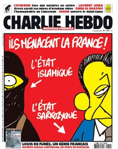 Charlie Hebdo cover by Charb, September 2014 Caricature, Tragic Comedy, Paris Nice, Tribute, Comic, Vintage Advertisements, Lol, September 2014, Toulouse
