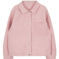 Solid Color Button-Down Jacket ($17) ❤ liked on Polyvore featuring outerwear, jackets, clothing - outerwear, long sleeve jacket, lightweight jackets, lightweight travel jacket, pink leather jacket and pink jacket