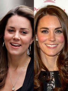 Kate Middleton in 2007 and Kate Middleton in December of 2010 just a few months before her wedding and becoming The Duchess of Cambridge