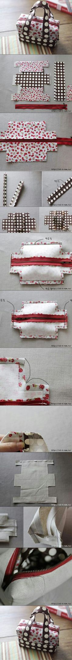 DIY Fabric Tote Handbag, it's not as complex as we imagine.Cute, smart, fancy DIY ideas and projeccts to have some funHere is a tutorial to make a lovely mini fabric tote. This mini tote is perfect to keep such small itemsThe Perfect DIY projects, Fabric Crafts, Sewing Crafts, Sewing Projects, Purse Patterns, Sewing Patterns, Sewing Hacks, Sewing Tutorials, Sewing Kit, Free Sewing