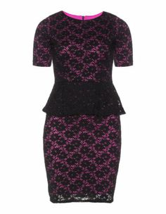 Crocheted lace peplum dress in Black / Pink designed by Grace to find in Category Dresses at navabi.de