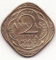 #1943 British Indian 2 annas coin \ Coins \ google.com